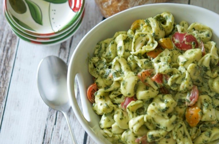 Tortellini with Creamed Spinach & Tomatoes