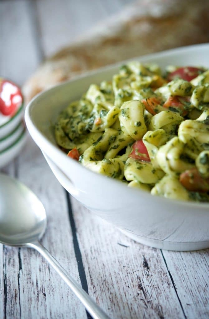 Tortellini with Creamed Spinach & Tomatoes | www.carriesexperimentalkitchen.com