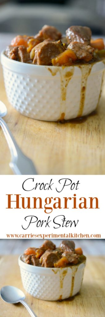 You're family is going to love this stew made with center cut pork loin combined with root vegetables in a Hungarian sweet paprika and red wine gravy; then simmered slowly in your crock pot.