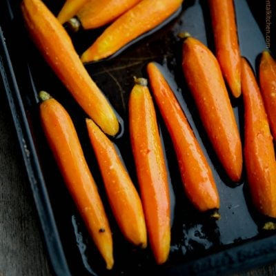 Maple Roasted Baby Carrots are simple to make yet dress up any meal whether it be a weeknight dinner or holiday gathering.