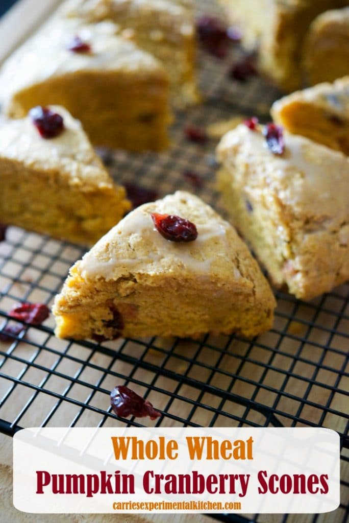 'Tis pumpkin season once again and these Whole Wheat Pumpkin Cranberry Scones are deliciously moist and perfect for breakfast.