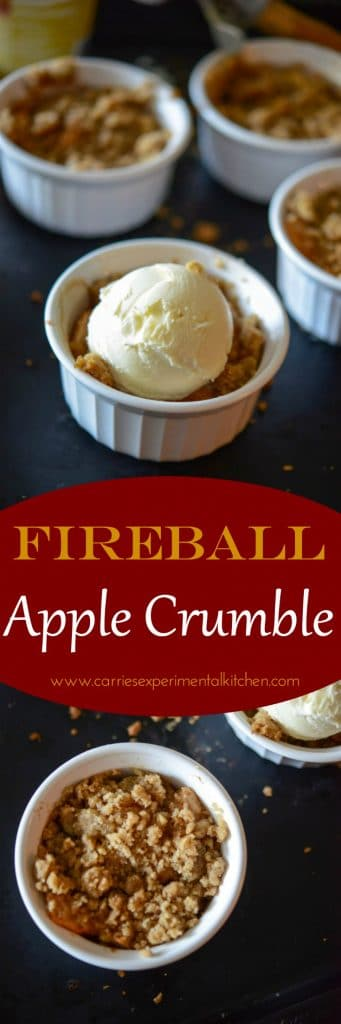 Fireball Apple Crumble made with sweet apples tossed with Fireball whiskey, cinnamon & sugar; then topped with a buttery crumb topping.