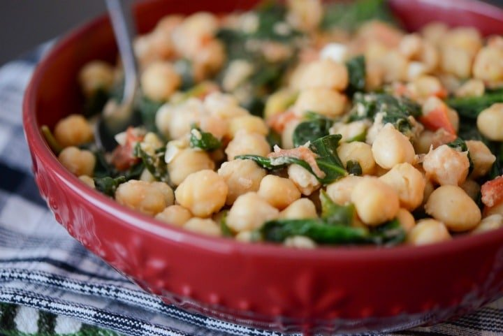 Chick Peas and Spinach