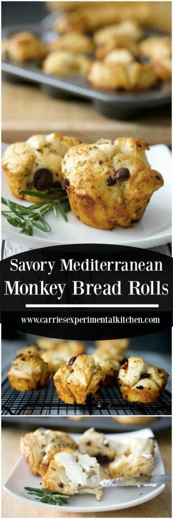 These Savory Mediterranean Monkey Bread Rolls made with flaky biscuits, fresh rosemary, sun dried tomatoes, Kalamata olives and a variety of cheeses are the perfect accompaniment to any meal.