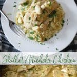 Skillet Artichoke Chicken made with boneless chicken, artichoke hearts, garlic, rosemary & mushrooms in a light, lemony broth.
