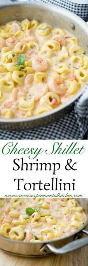 Cheesy Skillet Shrimp & Tortellini made with jumbo shrimp combined with cheese tortellini in a cheesy tomato basil Alfredo sauce. #shrimp #pasta #skillet
