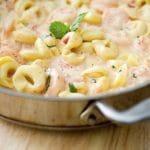 Cheesy Skillet Shrimp & Tortellini
