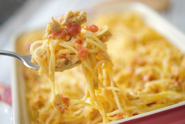 Low Fat Taco Spaghetti Casserole