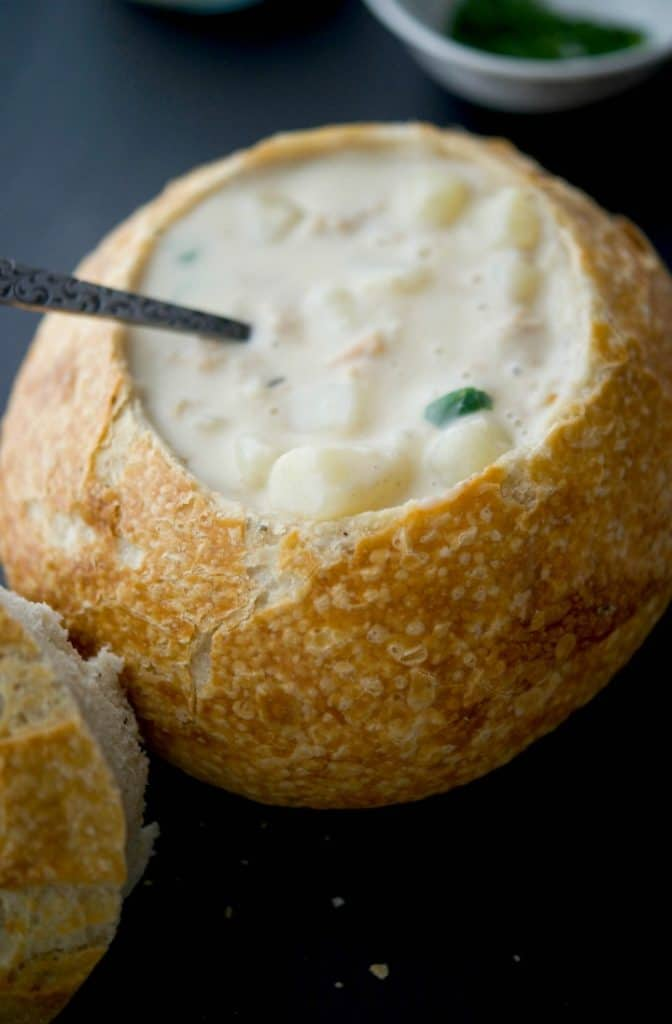 New England Clam Chowder is a deliciously creamy, clam based soup that will satisfy even the heartiest of appetites. Serve alone or in a bread bowl.
