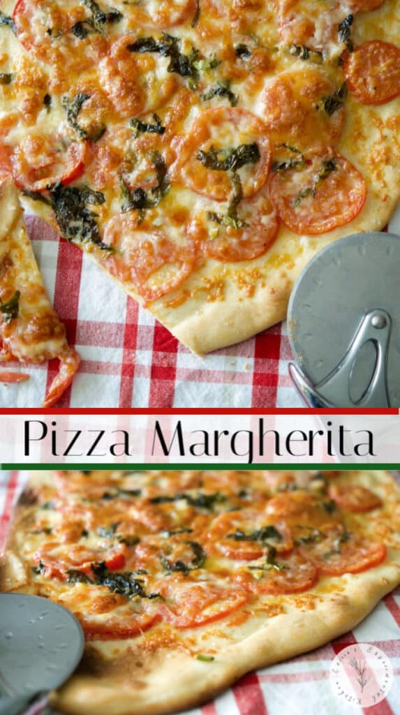 Pizza Margherita reflects the colors of Italy, red, green and white; and is mostly made with fresh tomatoes, basil & mozzarella cheese.