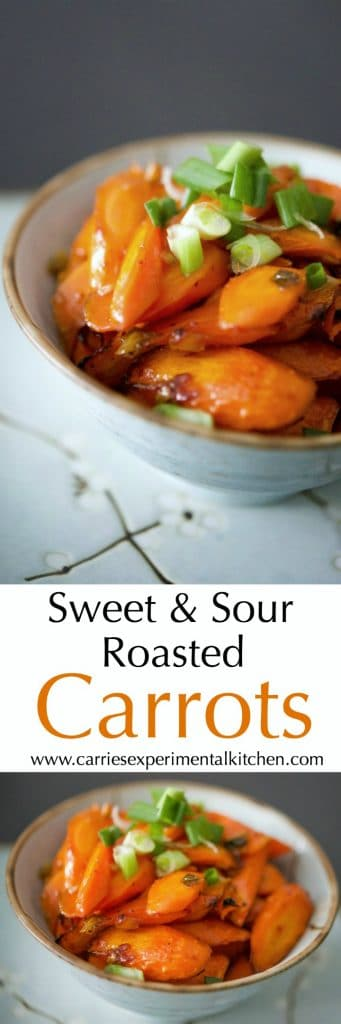 Sweet & Sour Roasted Carrots tossed in a mixture of sesame oil, garlic, chili paste, vinegar, salt and honey; then roasted until tender make the perfect side dish to any Asian inspired meal.