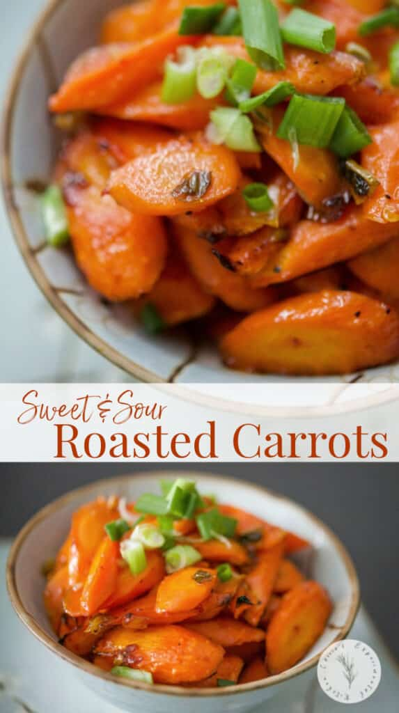 Sweet & Sour Roasted Carrots tossed in a mixture of sesame oil, garlic, chili paste, vinegar, salt and honey; then roasted until tender.