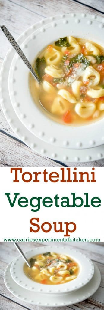 This meatless Tortellini Vegetable Soup made with cheese tortellini, Cannellini beans, plum tomatoes and spinach in a vegetable broth is hearty and delicious.