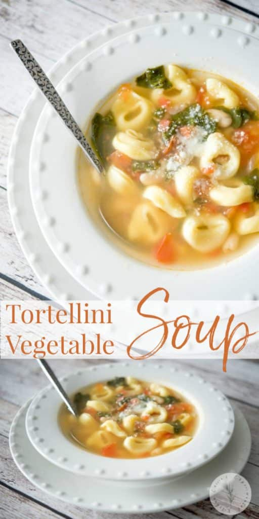 This Tortellini Vegetable Soup made with cheese tortellini, Cannellini beans, plum tomatoes and spinach in a vegetable broth is hearty and delicious.
