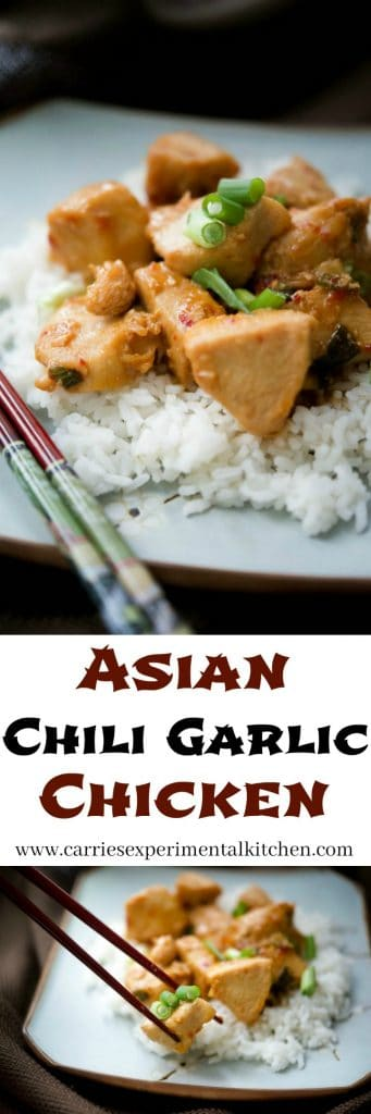 Asian Chili Garlic Chicken made with boneless chicken breasts pan seared and tossed with a chili, soy, honey and garlic sauce is a quick and delicious weeknight meal.