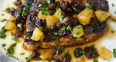 Cajun Pork Chops with Honey, Apple & Raisin Chutney