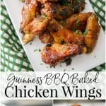 Guinness BBQ Baked Chicken Wings made with a Guinness stout BBQ sauce adds a ton of flavor to these healthier baked chicken wings.