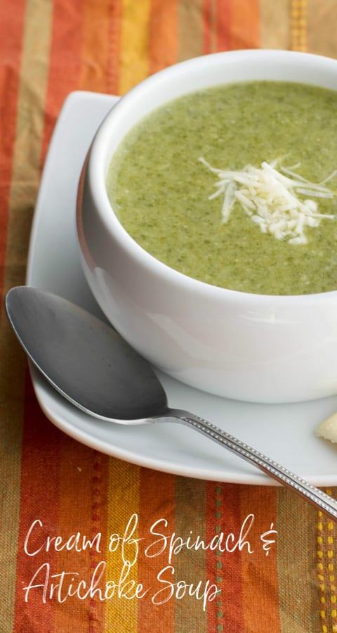 Cream of Spinach & Artichoke Soup made with frozen spinach, artichoke hearts and vegetable broth is a deliciously flavorful, filling soup that's perfect for those cold nights.