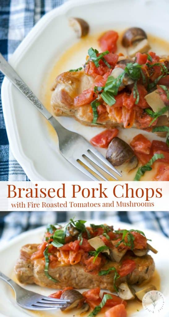 Braised boneless center cut pork chops with fire roasted tomatoes and Portobello mushrooms in a light cream sauce is deliciously light and flavorful.