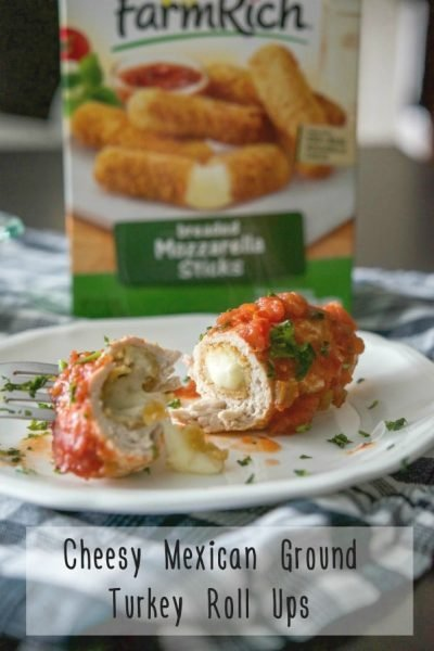 Cheesy Mexican Ground Turkey Roll Ups made with Farm Rich Mozzarella Sticks, wrapped with extra lean ground turkey; then topped with your favorite salsa. A quick and easy meal the kids will love! #ad @FarmRichSnacks
