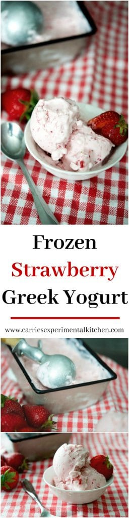 Make your own rich and creamy frozen yogurt with four simple ingredients at home including fresh strawberries and reduced fat plain Greek yogurt.
