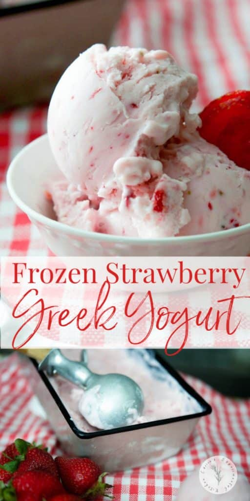 Make your own rich and creamy Frozen Strawberry Greek Yogurt with four simple ingredients including fresh strawberries and reduced fat plain Greek yogurt.