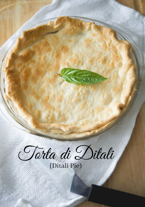 Torta di Ditali or otherwise known in Italian cooking as Ditali Pie, is pasta combined with ground beef, tomato sauce and eggs; then cooked in a pie crust.