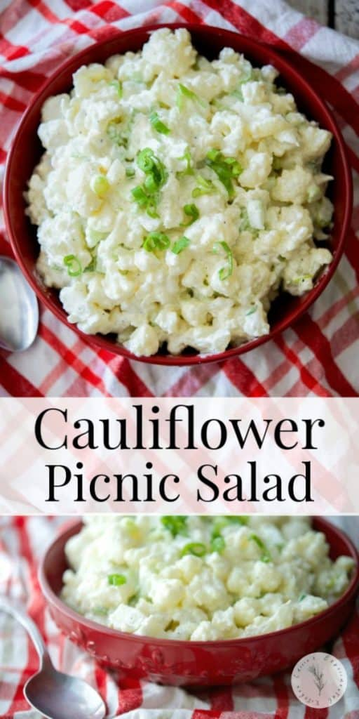 If you like potato salad, but can do without all of the extra added carbs, try this Low Carb Cauliflower Picnic Salad instead!