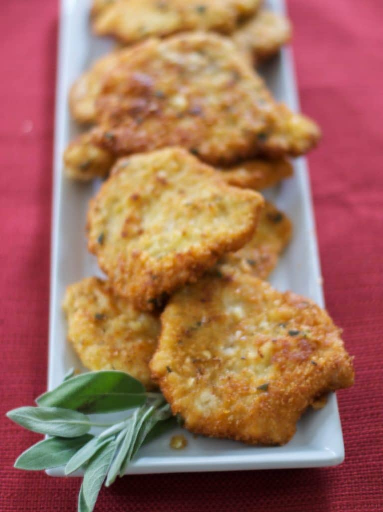 Tender center cut pork cutlets lightly breaded with potato flakes, mustard and fresh sage; then fried until golden brown.