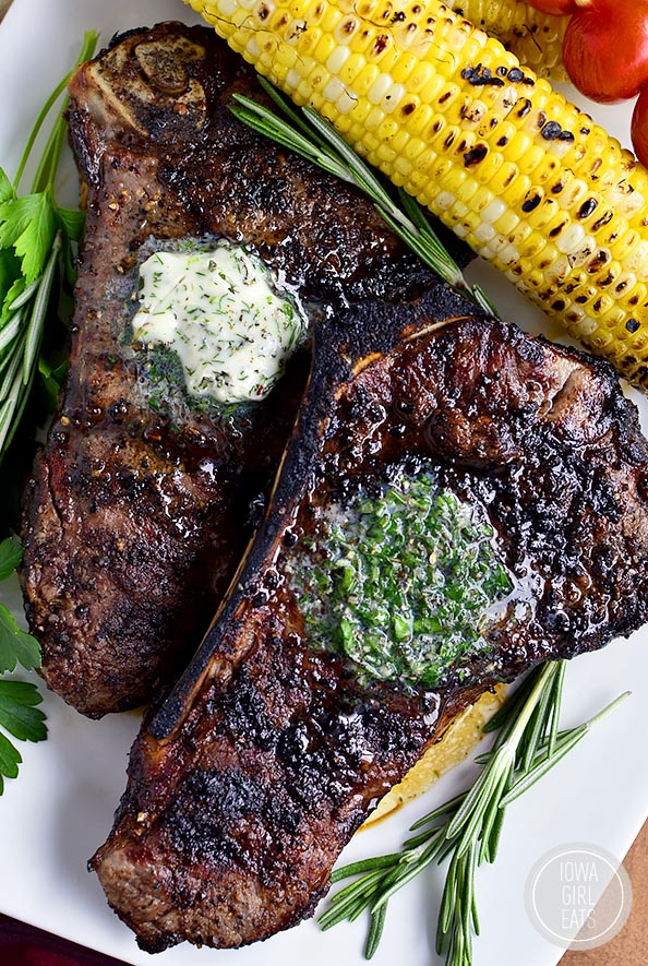Perfect Grilled Steak with Herb Butter from Iowa Girl Eats