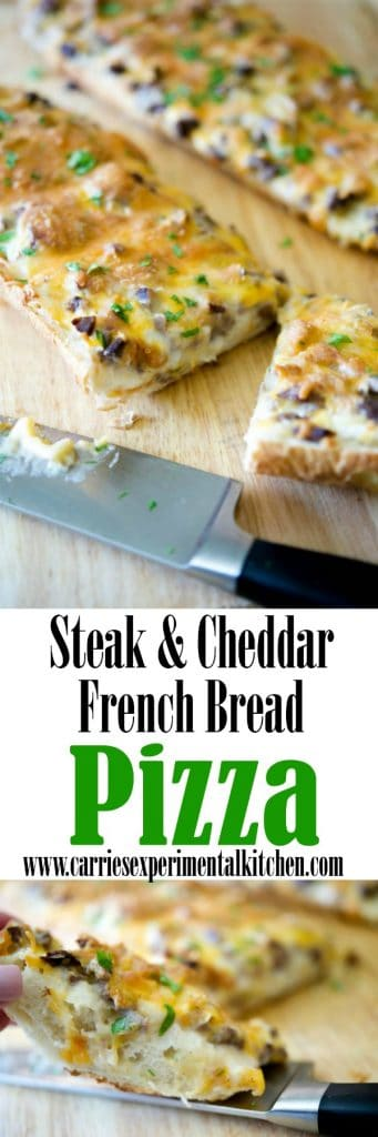 This Steak & Cheddar French Bread Pizza made with leftover grilled steak, shredded Cheddar Jack cheese and a horseradish cream sauce is sure to please.