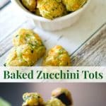 Baked Zucchini Tots made with garden fresh shredded zucchini, reduced fat shredded cheddar cheese and scallions are a healthier side dish option.