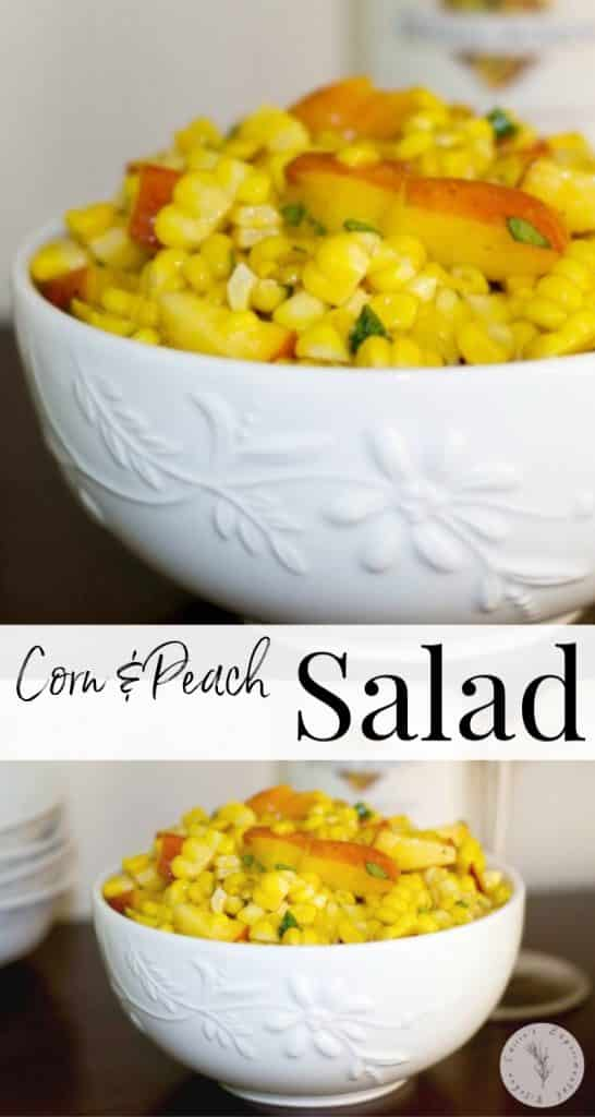 Corn & Peach Salad made with corn on the cob, fresh peaches and basil in a light vinaigrette is refreshingly light with a hint of sweetness.