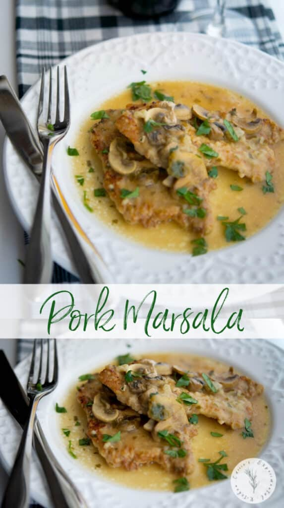 Pork Marsala made with thin, center cut pork loin in a mushroom, Marsala wine sauce is tasty and easy enough to make, you can enjoy during the week.