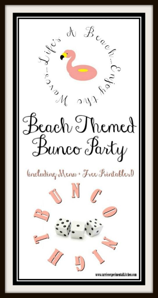 Have even more fun while hosting your next Bunco night with these Beach Themed Bunco Party menu ideas; including free game printables!