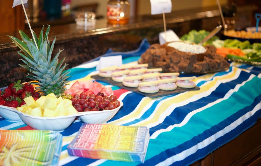 Beach Theme Bunco Buffet Set Up with Beach Towels