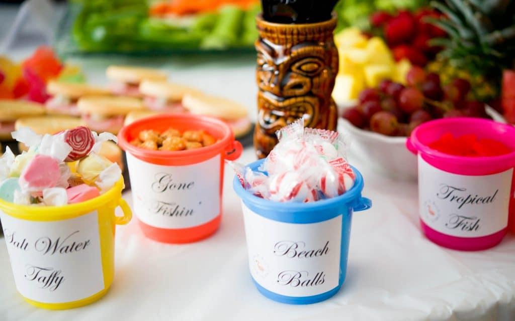 Beach Theme Bunco Party Candy Pails