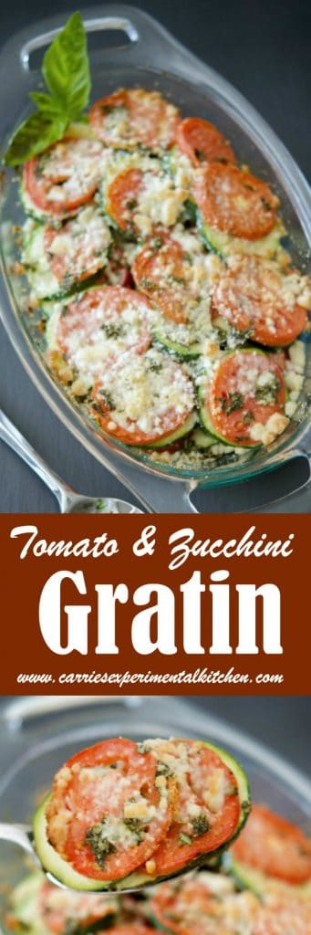 Tomato & Zucchini Gratin made with garden fresh plum tomatoes, zucchini, basil and grated Pecorino Romano cheese is a tasty vegetable side dish that tastes great with any meal.