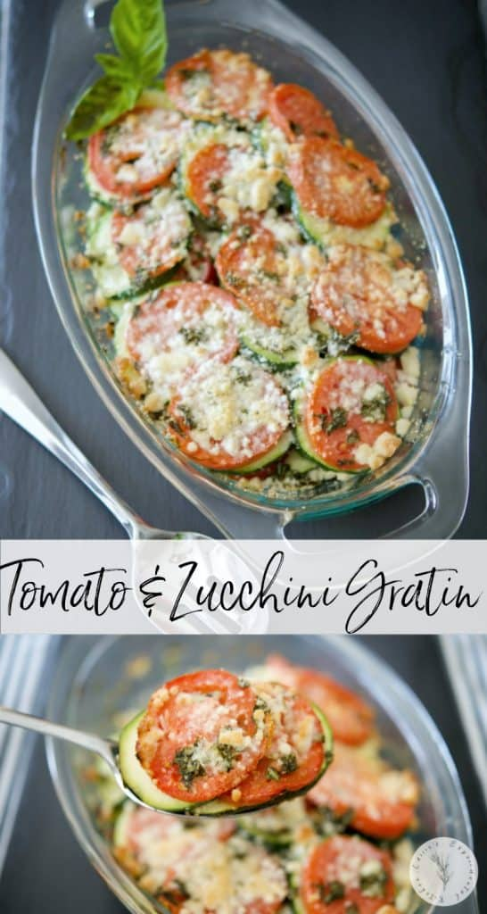 Tomato & Zucchini Gratin made with tomatoes, zucchini, basil and grated Pecorino Romano cheese is a tasty vegetable side dish that goes with any meal.