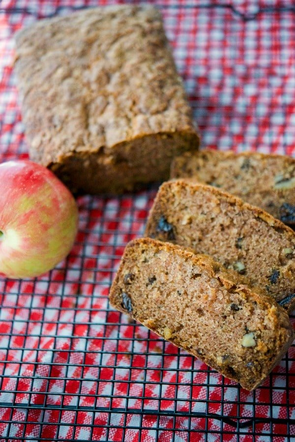 Apple Raisin Walnut Loaf Bread is loaded with shredded ripened apples, plump juicy raisins and walnuts. It's deliciously satisfying for breakfast or snack!