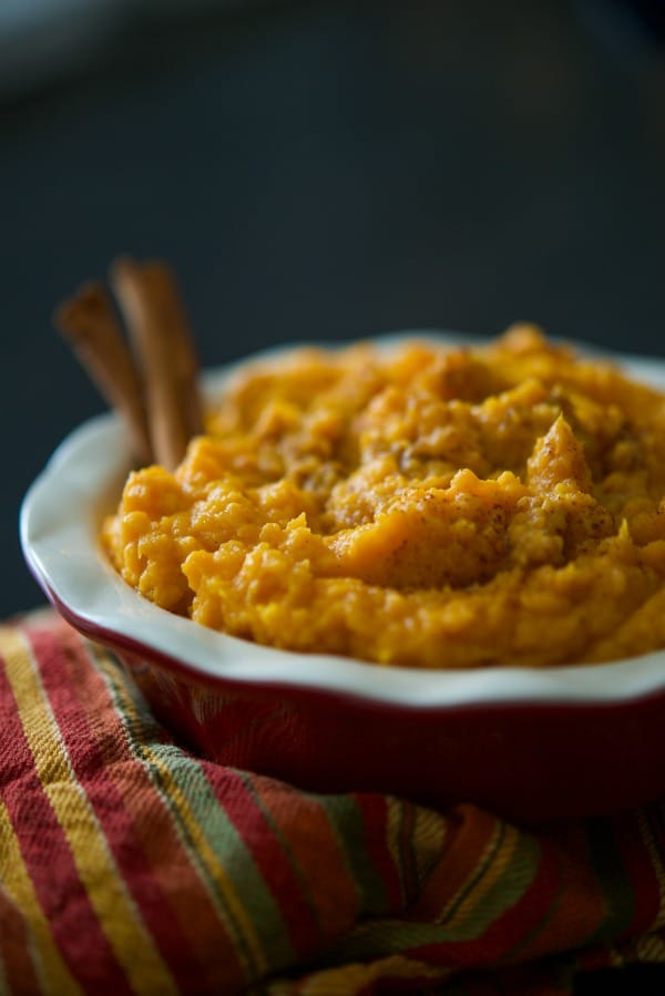 Sweet potatoes mashed until rich and creamy with Crown Royal whiskey, butter, milk, brown sugar, and cinnamon. It's a family staple on our Thanksgiving table.