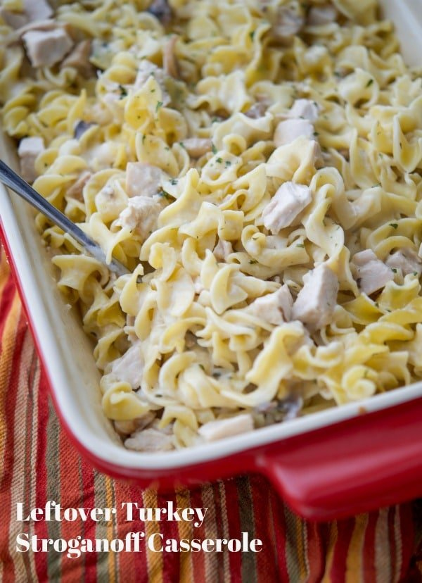 Utilize leftover turkey from your holiday celebrations and turn it into this Turkey Stroganoff Casserole in a creamy sauce mixed with egg noodles. #turkey #thanksgiving #casserole