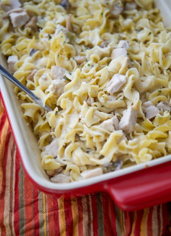 Utilize leftover turkey from your holiday celebrations and turn it into this Turkey Stroganoff Casserole in a creamy sauce mixed with egg noodles. #turkey #casserole #thanksgiving