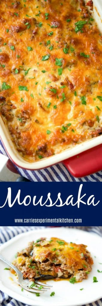 Moussaka originated from Greece and the Middle East and is casserole dish made with layers of potatoes, eggplant and ground beef; then topped with a cheesy Bechamel sauce.