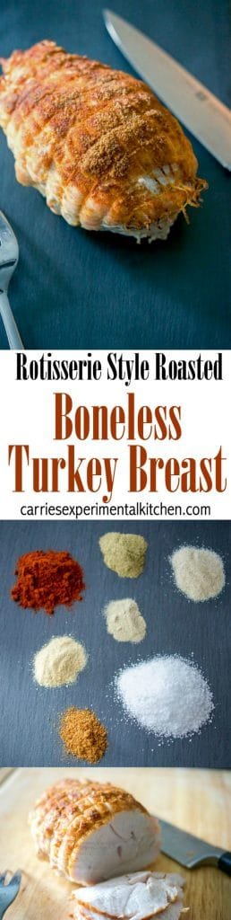 Boneless turkey breast seasoned with rotisserie seasonings including paprika, thyme, garlic and onion powder, salt, white and cayenne pepper.
