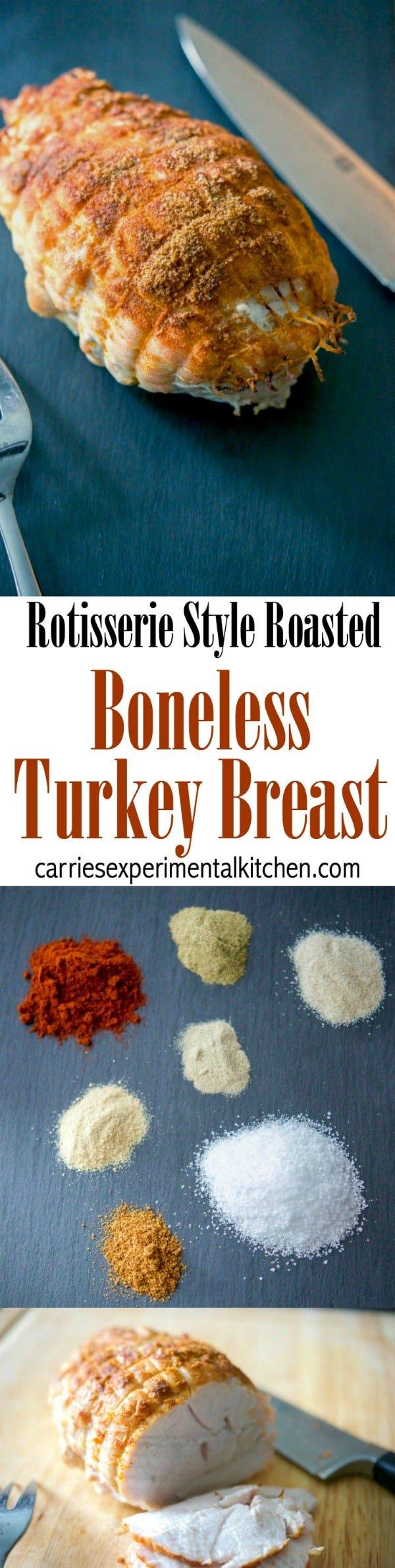 Boneless turkey breast seasoned with rotisserie seasonings including paprika, thyme, garlic and onion powder, salt, white and cayenne pepper. #thanksgiving #turkey #sundaydinner