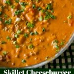 This Skillet Cheeseburger Gnocchi made with extra lean ground beef, chopped tomatoes, and gnocchi in a cheesy, tomato cream sauce is sure to please.