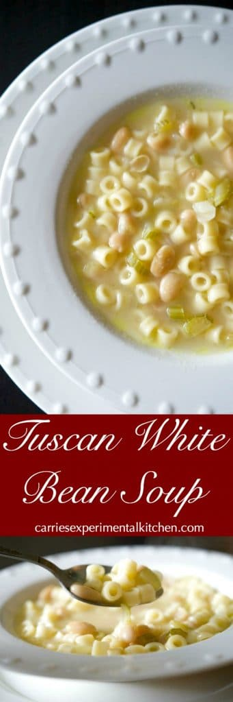 Tuscan White Bean Soup is a hearty, delicious Italian soup made with simple ingredients like celery, cannellini beans, Ditalini pasta and chicken broth.