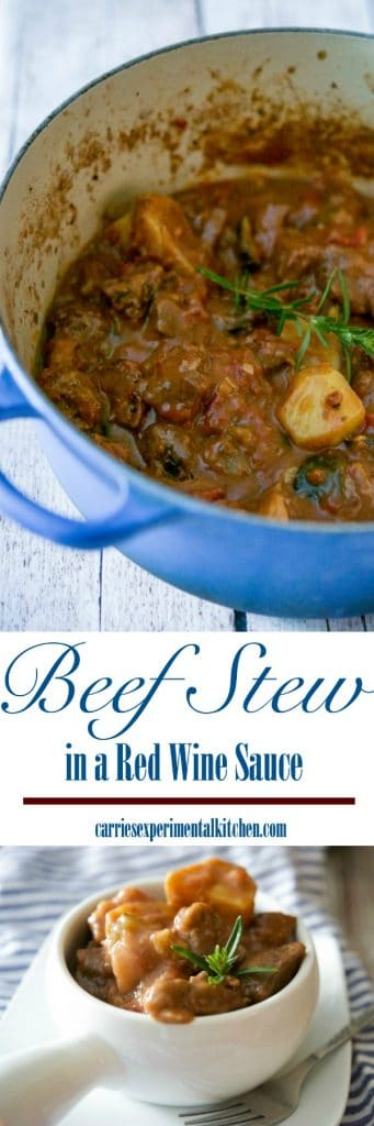 Beef stew made with zucchini, garlic, onions, fire roasted tomatoes, fresh rosemary, horseradish and red wine is unbelievably delicious. #stew #beef #wine #comfortfood