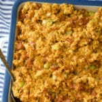 This stuffing made with Portuguese chorizo and cornbread stuffing mix makes a tasty weeknight side dish or served with during Thanksgiving.